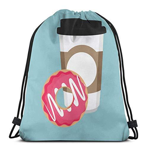 Einweg-Kaffeetassen-Symbol mit rosa süßer Kordelzug-Bapa-Sporttasche für Männer und Frauen mit großer Kapazität