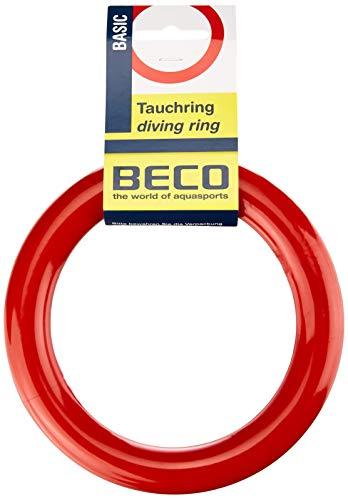 BECO Tauchring Schwimmring, Wurfring Wasserspielzeug massiv für Kinder, rot, One size, 9607
