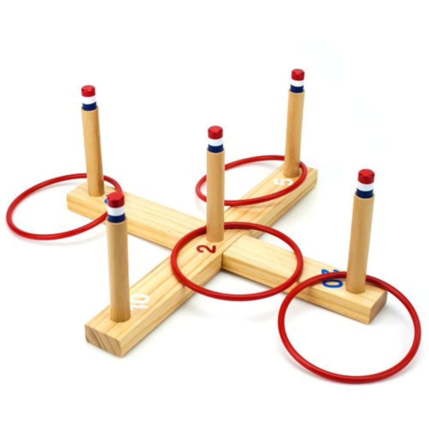 Midway Monsters Ring Toss Game - Classic Wooden Set with 4 Plastic Rings & X-Shaped Board, Indoor & Outdoor Family Fun for Carnivals, Barbecues, & Parties