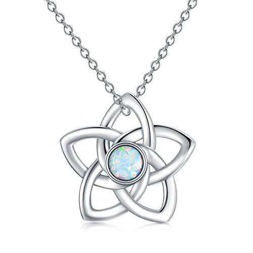 Celtic Pentagram Necklace Created Opal 925 Sterling Silver Celtic Knot Flower Pendant Necklaces for Women