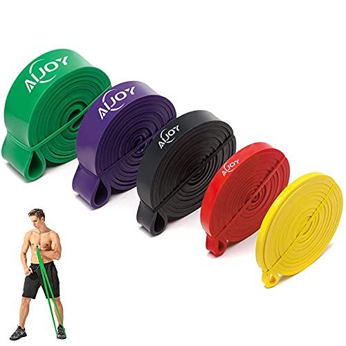 AiJoy 5pcs Elásticos de Fitness, Bandas de Resistencia, Ejercicio Banda Pull Up, Banda de Entrenamiento de Látex Natural, para Entrenamiento de Fuerza, Yoga, Pilates, Culturismo