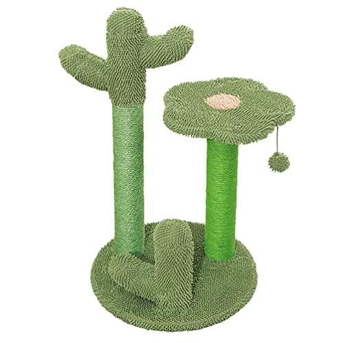 Balacoo Katze Klettergerüst Plüsch Kaktus Katze Kratzer Baum mit 3 Beiträge Schlenker Ball Lustige Spielen Spielzeug für Alle Katzen S