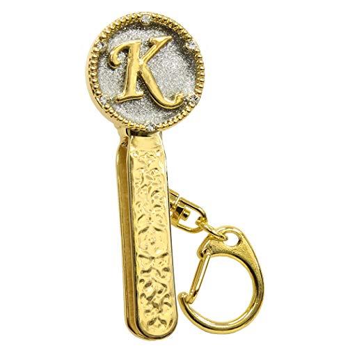 バッグキークリップ イニシャル 【160-85】 鍵・小物が2秒で見つかる (K柄)