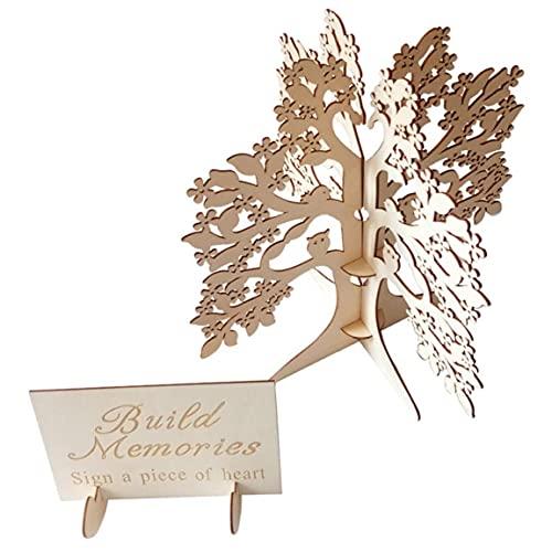 Hölzerne Hochzeit Wishing Tree Hochzeit Gästebuch aus Holz Herzen Holz-Baum-Rahmen Gästebuch Baum für Trauung Hochzeit Bevorzugungen