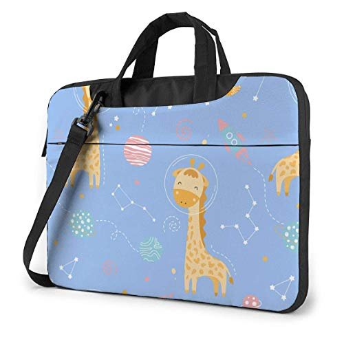 Laptop Bag Protective Notebook Computer Protective Cover Handbag Cute Giraffe in Space,Rockets Planets Stars Month