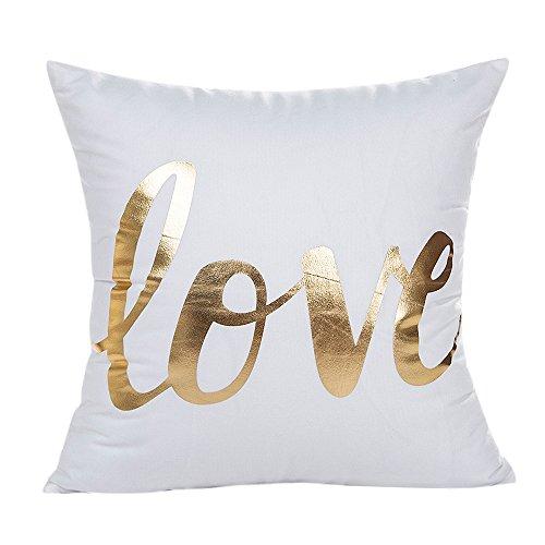 ZOUMOOL_ Pillow Cases Funda de cojín de decoración para el hogar Supersuave de lámina Dorada con Forma de corazón de piña de 18 x 18 Pulgadas
