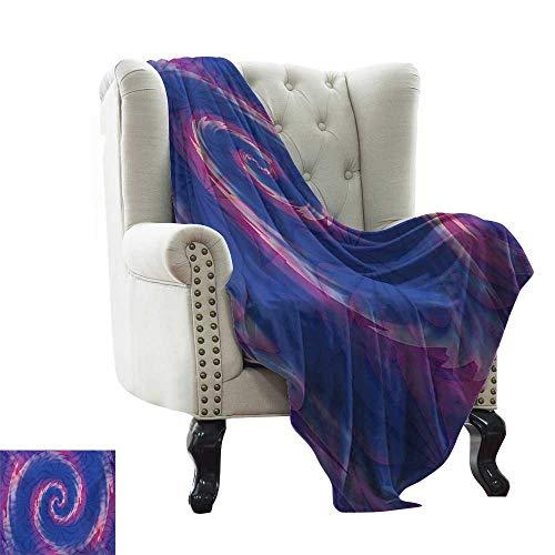 BelleAckerman - Manta con diseño abstracto y fractal giratorio, diseño giratorio, diseño de espiral, color azul y azul, poliéster, Color 15, 70'x90' Inch