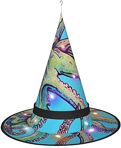 KINGAM Sombrero de bruja de pulpo con luz, para disfraz de Halloween, disfraz de disfraz, accesorio y uso diario