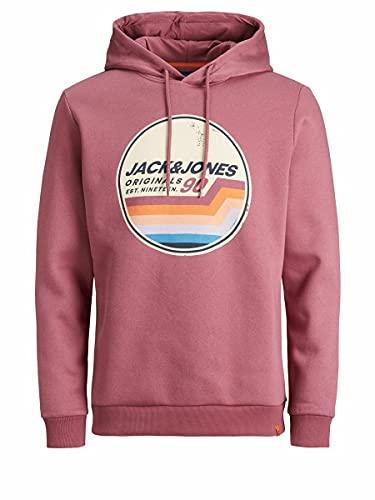 JACK & JONES Jortylers Sweat Hood STS Sweatshirt Capuche, Rose hawaïenne, L Homme