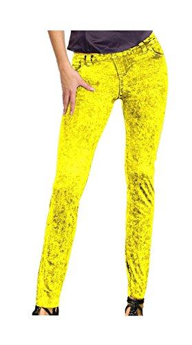 Leggins neon gelb Jeansmuster Neonhose Neon Nights Holi 80er 90er Strumpfhose