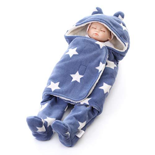 MUMEIDUOEN Baby-Schlafsack für Neugeborene, Babyschlafsack, Pucksack, warme Decke, Schlafsack mit getrennten Beinen. Gr. S, blau