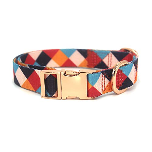 Rhea Rose Premium Dog Collar Metal Clasp Rose Gold Buckle Adjustable Heavy Duty Pets Collars for Dogs and Cats Red S