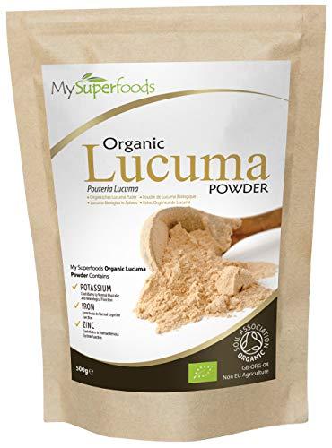 Poudre De Lucuma Biologique (500g), MySuperFoods, Fruits péruviens au goût sucré naturel, Élevée en protéines, calcium et phosphore, Certifiée biologique par la Soil Association