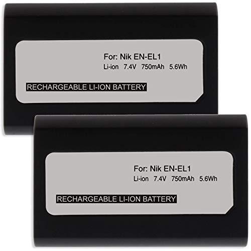 2X Akku EN-EL1 ENEL1 für Nikon Coolpix 4800, 5000, 5400, 5700, 8700. - Siehe Kompatibilitätsliste!
