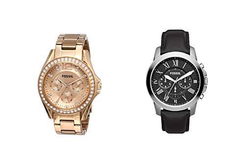 Fossil Reloj Analogico para Mujer de Cuarzo con Correa en Acero Inoxidable + Reloj Cronógrafo para Hombre de Cuarzo