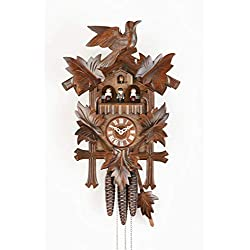 Sternreiter Bird and Leaf Cuckoo Clock Model 1301 with Grape Leaves, Maple Leaves and a Carved Bird, Linden Wood with Walnut Finish