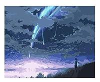 数字でDIYペイントアニメスカイガール風景DHandicraftOnCanvas数字でDIYカラーリングアクリル絵の具ユニークなギフト-A 40X50CM(フレーム付き)