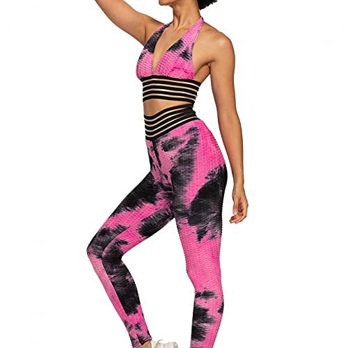 YLBHD Conjunto de trajes de yoga para mujer de cintura alta polainas deportivas Jacquard grueso Tie Dye ropa deportiva gimnasio entrenamiento chándal