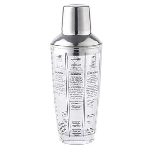 qwertyu Cocktail-Shaker, 700 ml, Mix-Master-Flasche, Cocktail-Shaker, transparent, Edelstahl, Glas