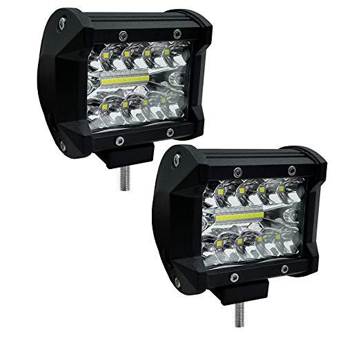 Bande lumineuse à LED, 4 '' 6000K 12v 6000lm lumière auxiliaire de travail phare pour camion chariot élévateur 2PCS