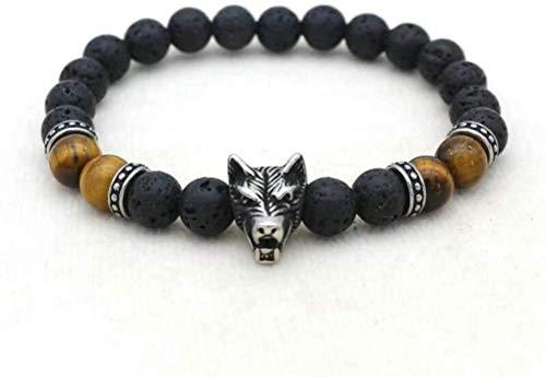 BRY Pulsera de lava con cabeza de lobo, ojo de tigre, perlas de piedras volcánicas naturales, pulsera elástica ajustable, joyería exquisita, unisex, parejas, regalo de amistad