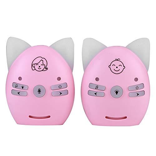 2,4-GHz-Audio-Babyphone, kabelloser digitaler Babyphone, 2-Wege-Voice-Walkie-Talkie mit kleinem Nachtlicht für Babys/ältere Menschen(EU-Pink1)