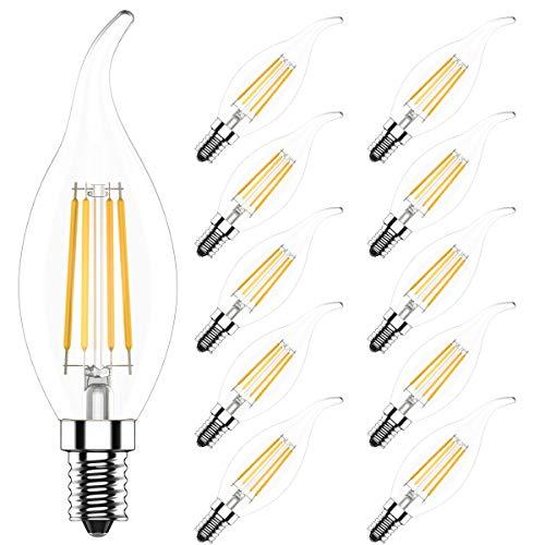 4W Dimmbar C35 E14 LED Kerzenlampe Filament Glühfaden Fadenlampe Lampe Birne,Klar Glas,Ersetzt 40 Watt,400 Lumen,2700K Warmweiß,360°Abstrahlwinkel,AC 220V,10er Pack