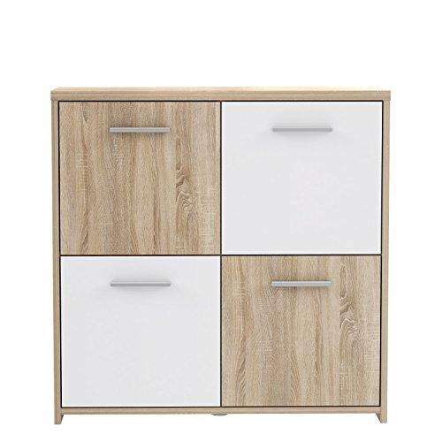 FORTE Kommode , Holz, Sonoma Eiche Dekor Kombiniert Mit Weiß, 77.2 x 29.6 x 77.5 cm