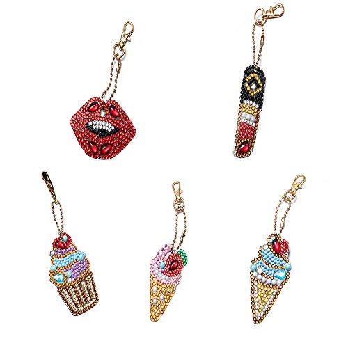 Jestang 5D-DIY-Diamantmalerei-Schlüsselanhänger, spezielle Form, Anhänger für Kunst, Handwerk, Schlüsselanhänger, Handy, Tasche, Dekoration, Eiscreme, Lippenstift, 5 Stück