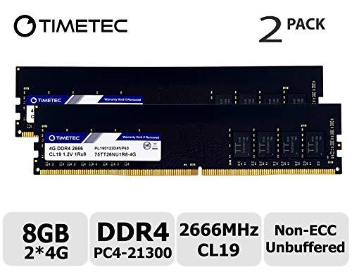 Timetec Hynix IC DDR4 2666MHz PC4-21300 Unbuffered Non-ECC 1.2V CL19 2Rx8 Dual Rank 288 Pin UDIMM Desktop Memory RAM Module Upgrade (8GB Kit)