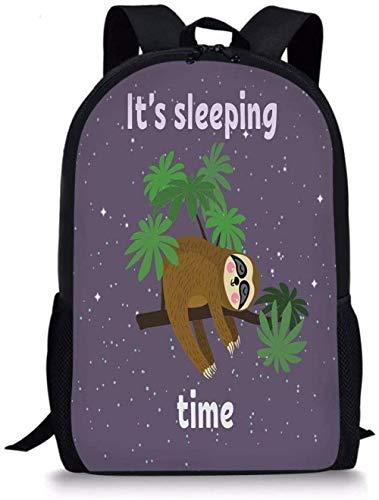 Schulrucksack,Rucksack Daypack Taschen Faultier Nette Cartoon-Figur Schlafen auf Zweig Dschungeltier im Nachthimmel Kinder Thema Pflaume Braun Grün für Jungen & Gi