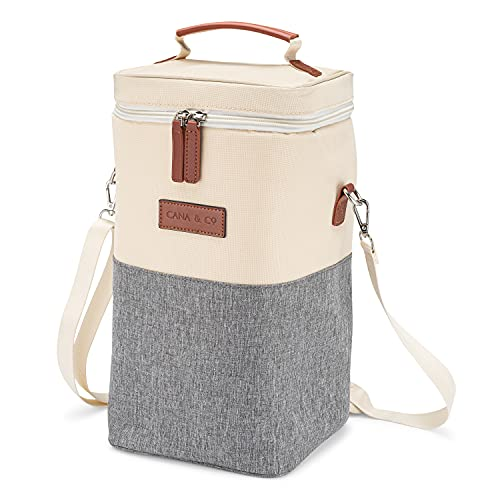 Cana & Co 4 Bottle Wine Carrier - Wine Cooler Bag - Wine Travel Bag for Picnics and Restaurants - Versatile Wine Tote for Beverages and Snacks - Great for Wine Gifts