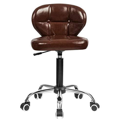 Xiao Jian rolstoel, draaibaar, met rugleuning, PU-leer, verstelbaar, hydraulische stoel, wieltjes, voor kantoor, massage, spa, medische tatoeage, schoonheidssalon, kappersstoel, barkruk Bruin