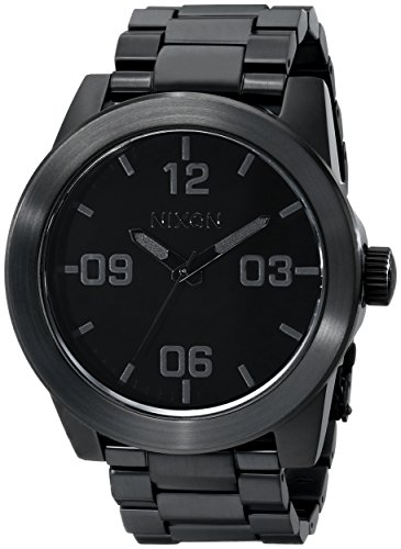 Nixon Corporal SS A346001-00. All Black Stainless Steel Men's Watch (48mm Black Watch Face/ 24mm Black Steel Band)