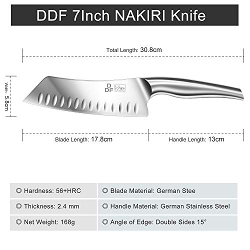 DDF iohEF Kitchen Knife, Chef's Knife In Stainless Steel Professional Cooking Knife, 7 Inch Antiseptic Non-slip Ultra Sharp Knife with Ergonomic Handle Ideal for Kitchen / Restaurant