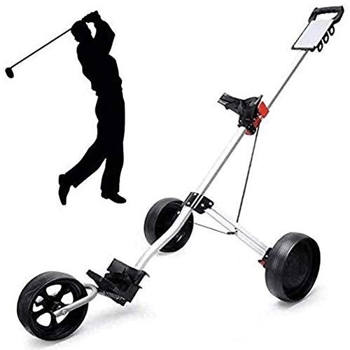SJB Golf Trolley Faltbare Golf Trolley 3-Rad, Leicht Golf-Buggy, Schnell Öffnen und Schließen Golf Caddy zusammenklappbare Wagen, Golf Push/Pull Wagen