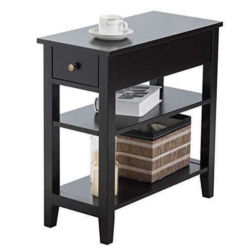 Giantex Nachttisch schmal, Beistelltisch Sofatisch mit Ablage und Schublade, 3 Ebenen, moderner Couchtisch Holz für Wohnzimmer Schlafzimmer 60x28,5x61 cm (schwarz)