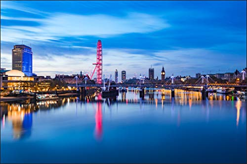 Muralo Fototapete Stadt London 210 x 315 cm Vlies Tapete Wandtapete Fluss Himmel London Panorama Brücke Wohnzimmer Schlafzimmer Moderne Wandbild Architektur Wand Dekoration