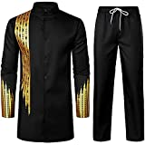 LucMatton Men's 2 Piece Outfit Long Sleeve Button up African Dashiki Shirt and Pants Traditional Ethnic Suit Black Gold Large