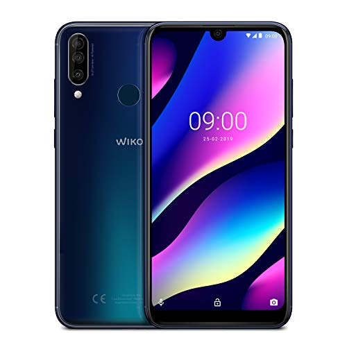 "Wiko View 3 Italia, Smartphone, Night Blue, Android 9 Pie Display 6,26"" 3GB RAM 64GB ROM, processore octa-core 2,0 Ghz, batteria 4000 Mah Li-Po, Fotocamera principale tripla 12+2+13 MP, fotocamera ant"