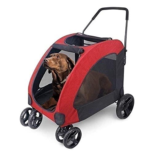 TETHYSUN Cochecito de perro extra grande para mascotas Carrito de cuatro ruedas Carros de gato plegable con ventana superior para perros medianos y grandes de carga dentro de 60 kg (color rojo)