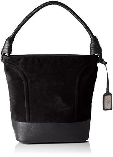 Buffalo Damen Bag W15-089 IMI Suede PU Henkeltaschen, Schwarz (Black 19), 28x32x17 cm
