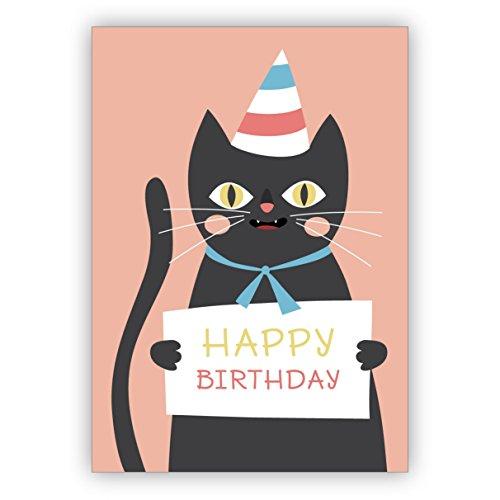 Komische Geburtstagskarte mit frecher schwarzer Katze im Party Hut: Happy Birthday • hübsche Grusskarte zum Geburtstag mit Umschlag geschäftlich & privat