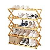 unho Zapatero de Bambú Plegable, Estanteria Zapatos de 5 niveles Organizador Recibidor Zapateros Grandes Multifunción Entrada Pasillo Salón Balcón