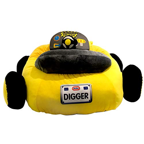 Little Tikes Digger Dump Truck Plush Car Baby Toddler Lounger Seat with Working Car Horn, Cup Holder, and Front Digger, Yellow Truck