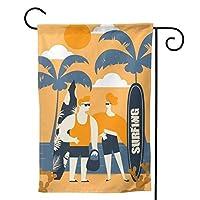 オレンジビーチサーフィンボード のぼり旗 ガーデンフラッグ 両面 防風 サイン 休日を祝う 美しい 庭の装飾 アンティークの冬 ガーデンバナー ファッション 屋外装飾 贈り物