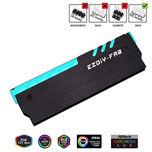 EZDIY-FAB 12V RGB Speicher RAM Kühler DDR Kühlkörper für DIY PC Spiel Overclocking MOD DDR3 DDR4 (kompatibel mit ASUS Aura Sync, MSI Mystic Light Sync, ASRock Polychrome) - Schwarz-1pack