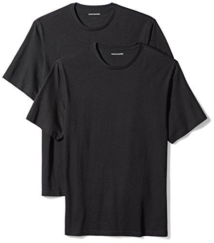 Amazon Essentials 2-Pack Regular-Fit Short-Sleeve Crewneck T-Shirts Camiseta, Negro (Black), Large