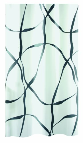 """Spirella Anti-Schimmel Duschvorhang - Anti-Bakteriell, waschbar, wasserdicht, Polyester, """"Ribbon"""" 120x200cm Weiß"""