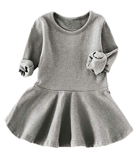 lymanchi Toddler Long Sleeve Dresses Round Neck Ruffle Solid Top for Baby Girl 476 Gray 12/18M